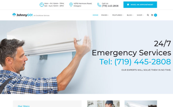JohnnyGo - uniwersalny motyw WordPress dla branży Usługi domowe