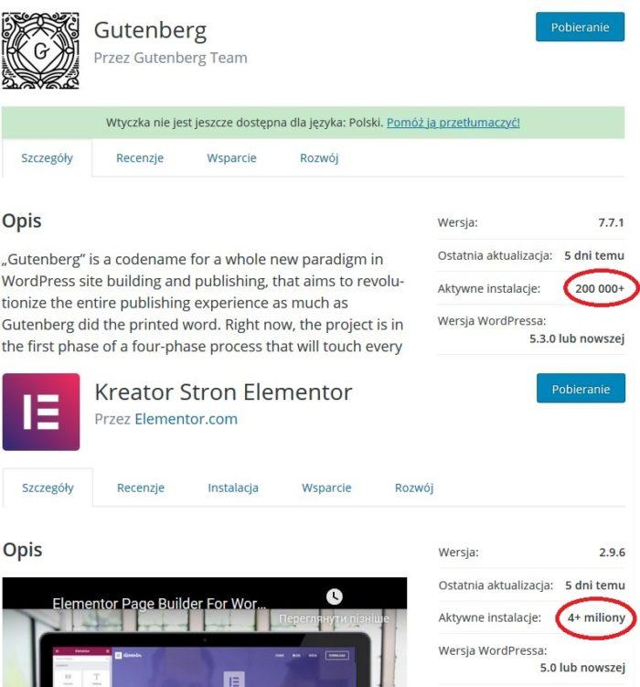 Gutenberg i Elementor